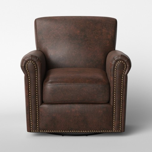 Meadowood Swivel Distressed Arm Chair Faux Leather Brown - Threshold™ - image 1 of 5