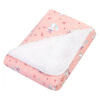 Trend Lab Flannel and Faux Shearling Baby Blanket - Pink/Teal