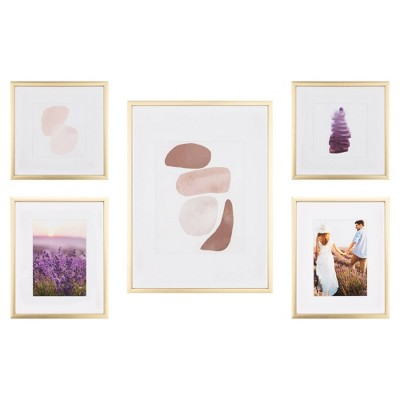 5pc Gallery Wall Frame Set with Decorative Art Prints and Hanging Template Gold - Gallery Solutions
