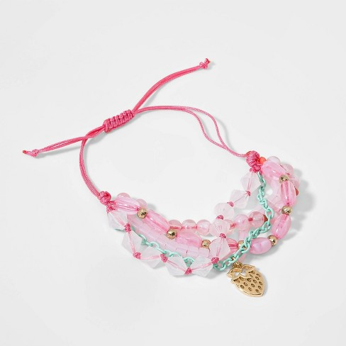 Girls' Adjustable Bracelet with Strawberry Charm - Cat & Jack™ Pink - image 1 of 1