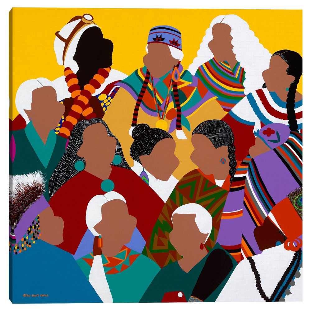 35 34 X 35 34 Council Of Indigenous Grandmothers By Synthia Saint James Canvas Art Print Masterpiece Art Gallery