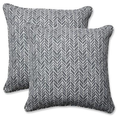 Outdoor/Indoor Herringbone Gray Throw Pillow Set of 2 - Pillow Perfect