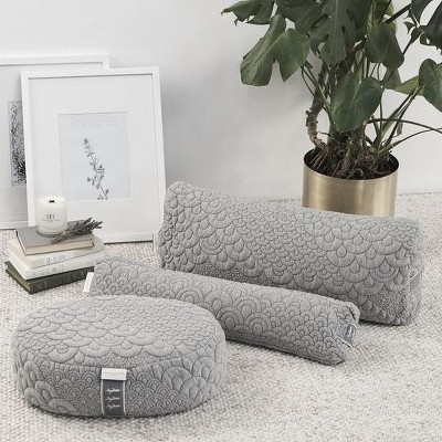 Brentwood Home Crystal Cove Yoga Pillow Set, Meditation, Bolster, and Pranayama Collection, Buckwheat Fill