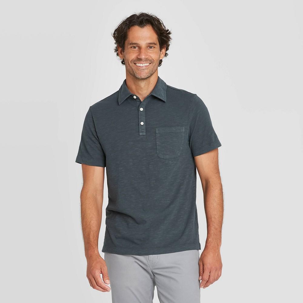 Top Men' tandard Fit Polo Collared hirt - Goodfellow & Co™ Dark