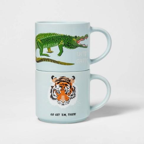 15oz 2pk Stoneware Gator and Tiger Mugs Blue - Room Essentials™ - image 1 of 2