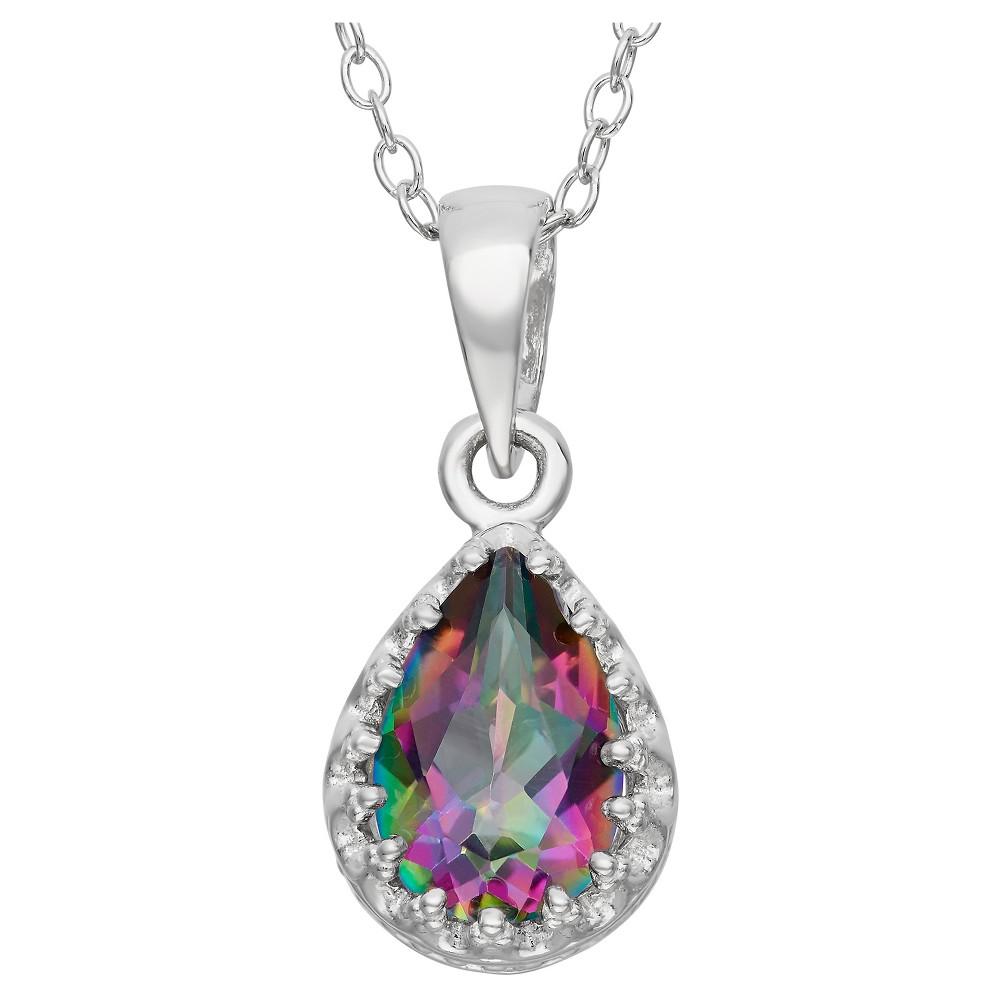 Pear-Cut Rainbow Green Topaz Crown Pendant in Sterling Silver, Girl's, Mystic Green Topaz