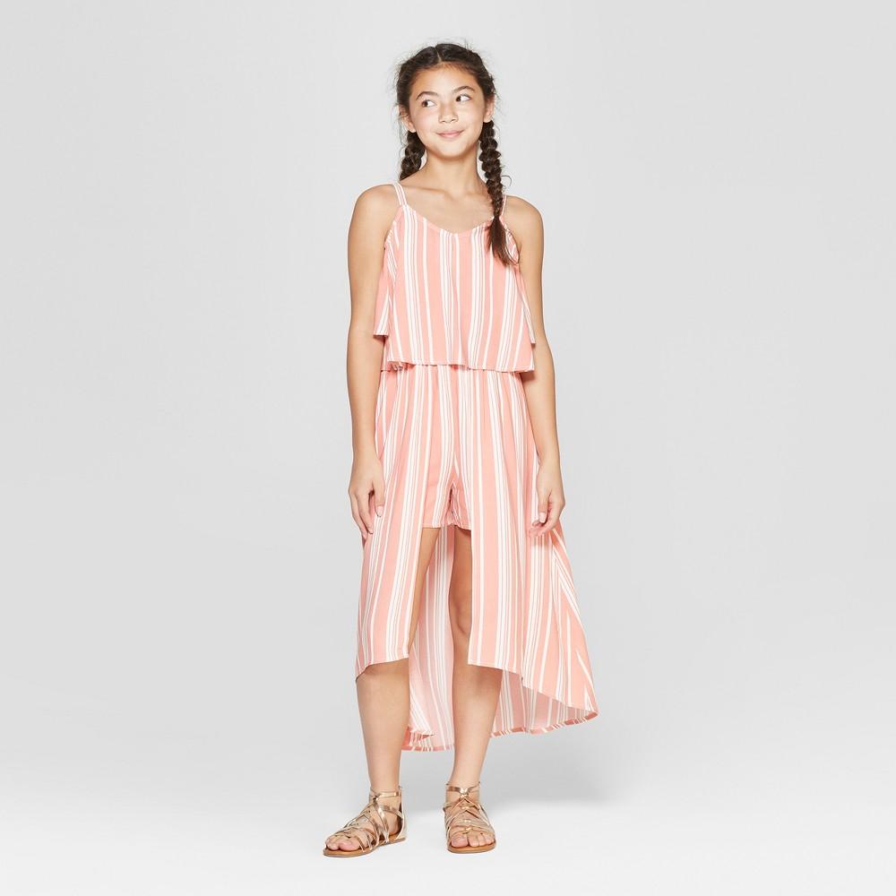 Girls' Cold Shoulder Walk-Thru Maxi Dress - art class Pink S