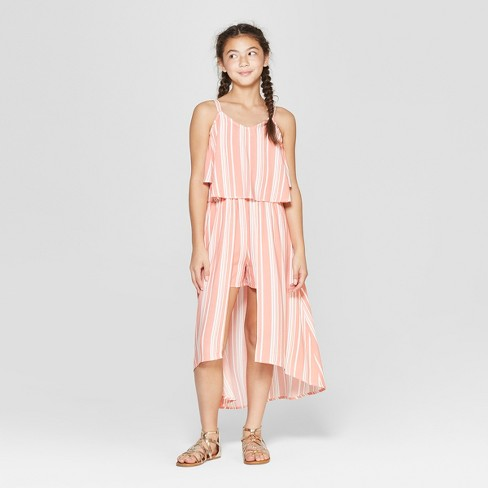 2efb2ea2c866 Girls  Cold Shoulder Striped Walk Through Romper - Art Class™ Peach ...