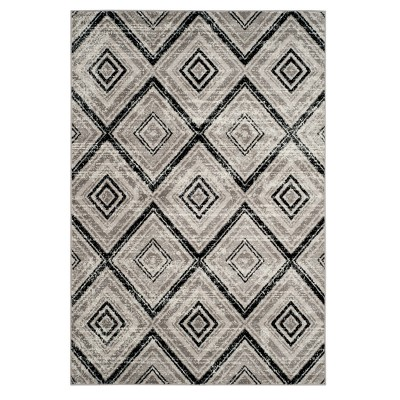 Gray/Black Geometric Loomed Area Rug 5'1 X7'6  - Safavieh