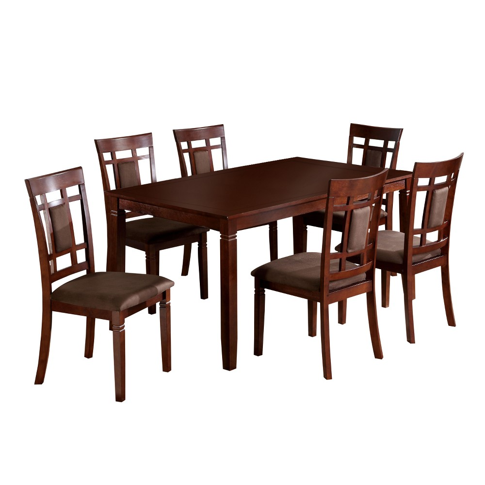 7pc Adressa Gridded & Padded Chair Back Dark Cherry - miBasics, Redwood Brown