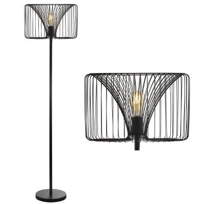 "61"" Metal Gridley Floor Lamp (Includes LED Light Bulb)Black - JONATHAN Y"