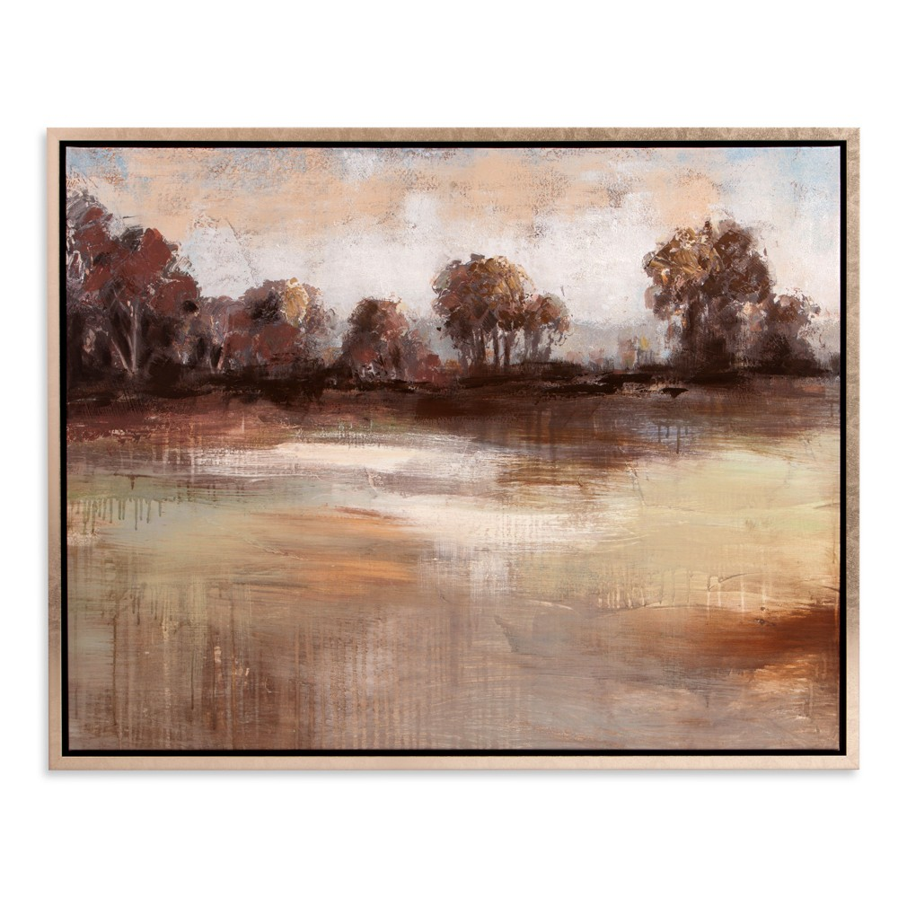 "Image of ""30""""x38"""" Pastoral Landscape Framed Canvas Art Champagne (Beige) - Patton Wall Decor"""