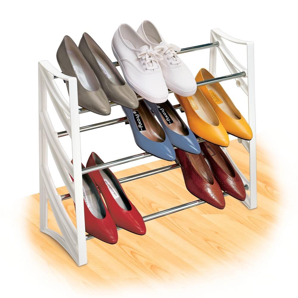 Image of Lynk 9 Pair Convertible Shoe Rack Organizer - 3 Tier - Closet Shoe Rack - White