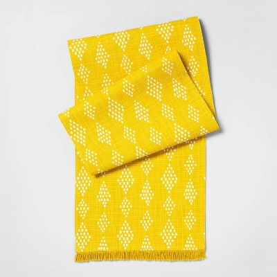 72 x24  Diamond Print With Fringe Table Runner Yellow - Opalhouse™