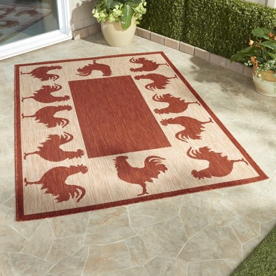 5'x7' Rectangle Indoor and Outdoor Tufted Area Rug Red - The Lakeside Collection