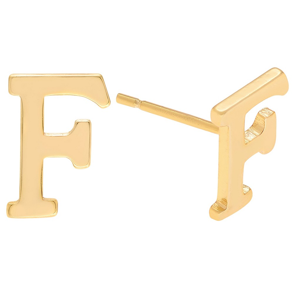 Women's Journee Collection Brass Initial Stud Earrings - Gold, F, Gold Letter - F