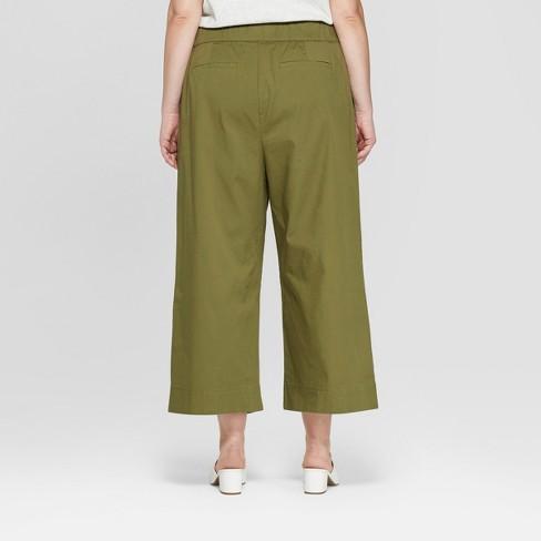 8c0bf798f7b Women s Plus Size Wide Leg Crop Trouser - Ava   Viv™ Olive 20W   Target