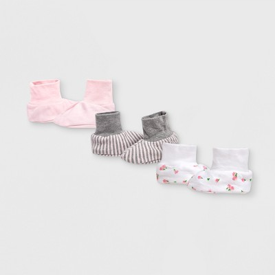 Burt's Bees Baby® Organic Cotton Girls' 3pk Tulip Booties - 3-6M