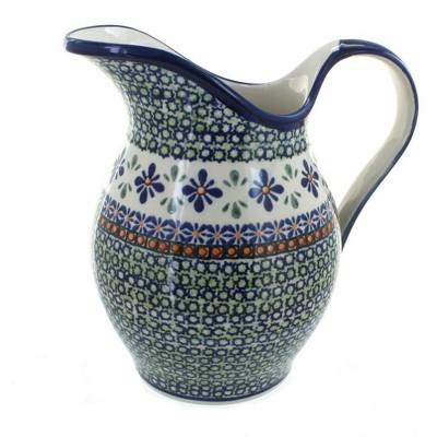 Blue Rose Polish Pottery Mosaic Flower Pitcher