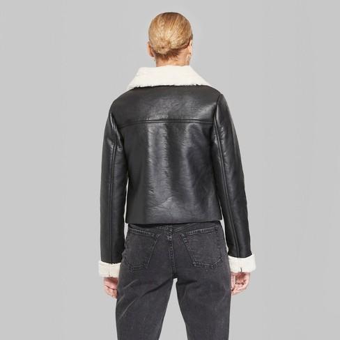Women S Sherpa Lined Faux Leather Moto Jacket Wild Fable Black