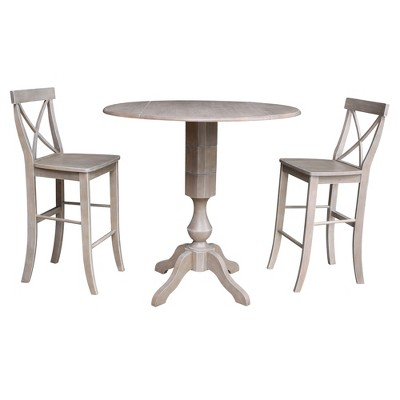 """42.3"""" Lacey Round Pedestal Bar Height  Extendable Dining Table with 2 Stools Washed Gray/Taupe - International Concepts"""