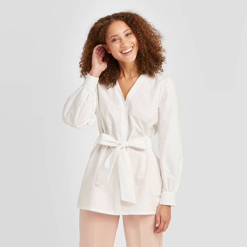 Women's Long Sleeve V-Neck Tie Waist Button-Down Blouse - A New Day™ - image 1 of 3