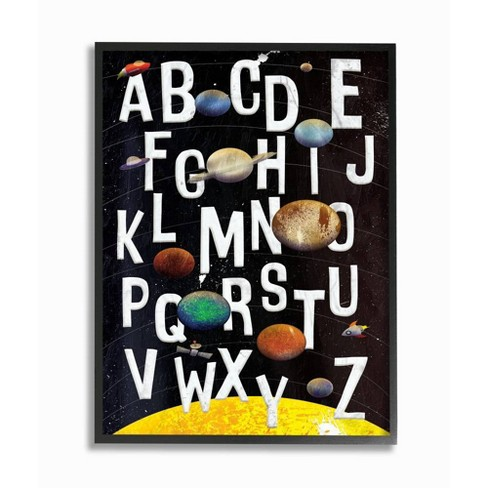 "11""x1.5""x14"" Alphabet Milky Way Planets Framed Giclee Texturized Art - Stupell Industries - image 1 of 3"