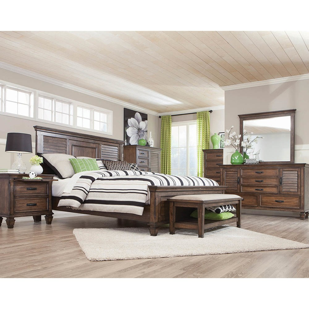 Queen Farmhouse Chateau Panel Bed Burnished Oak - Private Reserve