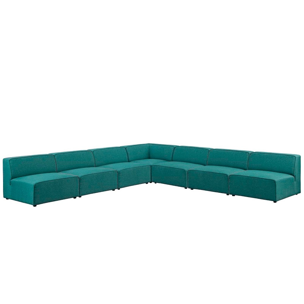 Mingle 7pc Upholstered Fabric Sectional Sofa Set Teal (Blue) - Modway