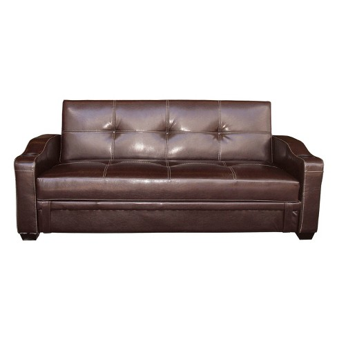 Faux Leather Sofa Bed Brown - Home Source