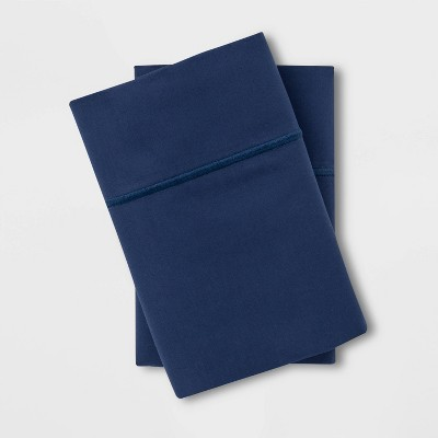Standard 1000 Thread Count Solid Pillowcase Set Graphite Blue - Threshold Signature™