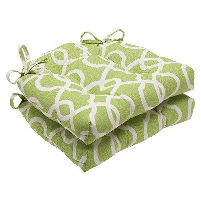 Green Lattice Damask Reversible Chair Pad (Set Of 2)(16 X15.5 )- Pillow Perfect