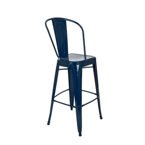 Set Of 2 Metal High Back 30 Bar Stool Navy Glitzhome Target