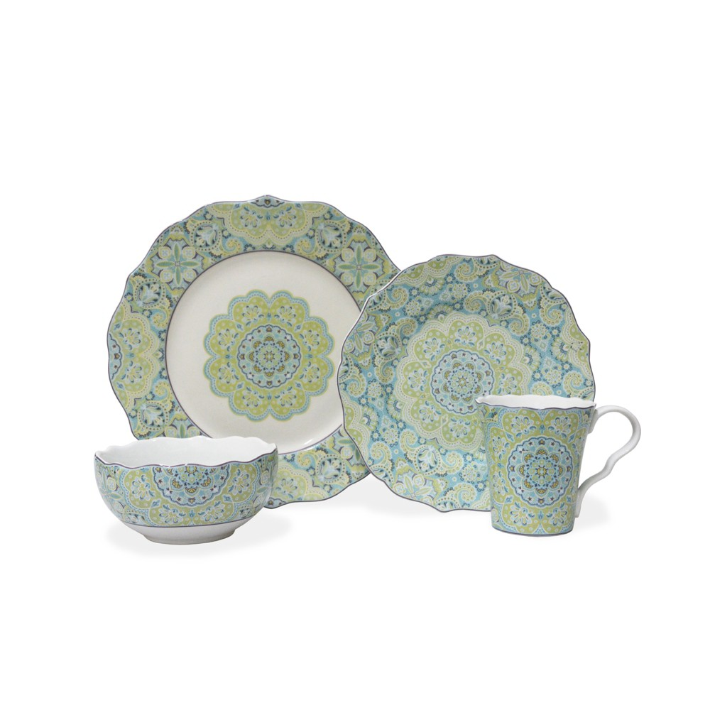 Image of 16pc Porcelain Lyria Dinnerware Set Green - 222 Fifth