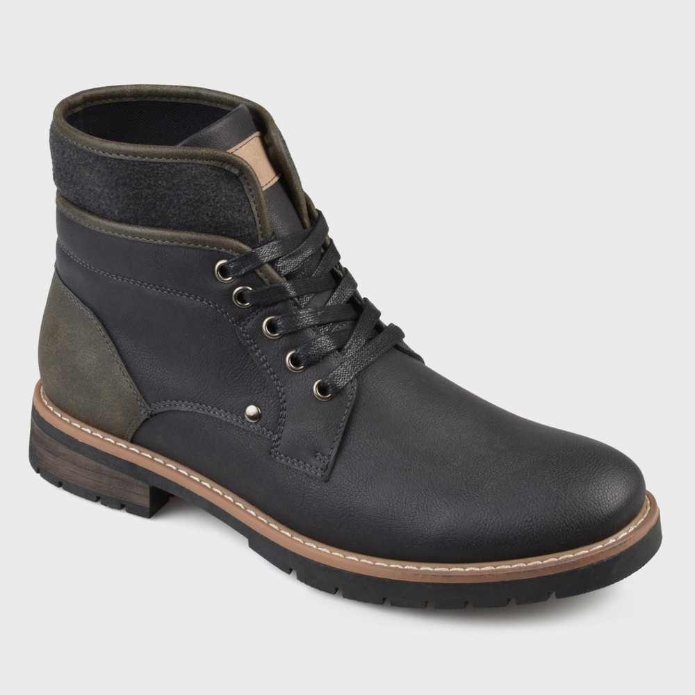 Men's Vance Co. Darvin Faux Leather Casual Lace-Up Boot - Black 7.5
