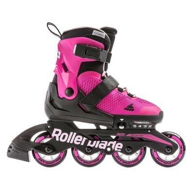 Rollerblade USA Microblade Girls Adjustable Fitness Inline Skate Size 5, Pink