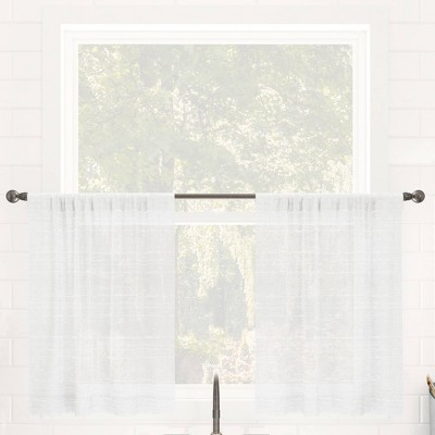 Set of 2 Textured Slub Striped Anti-Dust Linen Blend Sheer Cafe Curtain Tiers - Clean Window