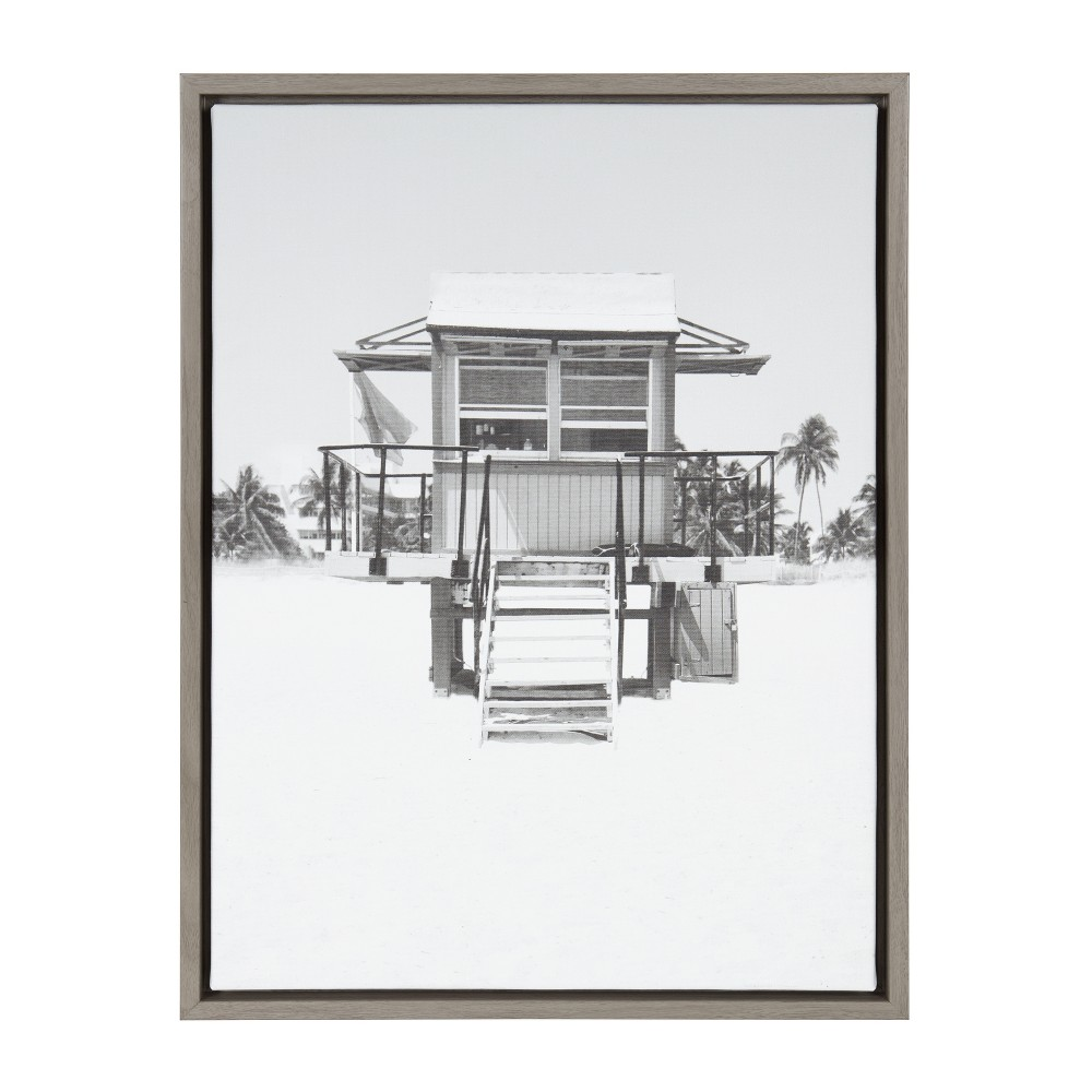 "Image of ""Kate & Laurel 24""""x18"""" Sylvie Lifeguard Tower And Photo Print Framed Wall Canvas Gray"""