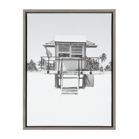"""18"""" x 24"""" Sylvie Lifeguard Tower Framed Canvas Gray - Kate and Laurel - image 1 of 4"""
