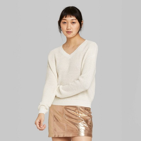 Women's Long Sleeve V-Neck Cropped  Sweater - Wild Fable™ Almond Cream - image 1 of 2