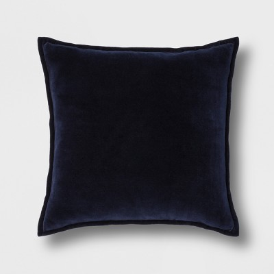 Solid Velvet With Zipper Closure Square Throw Pillow Navy - Threshold™