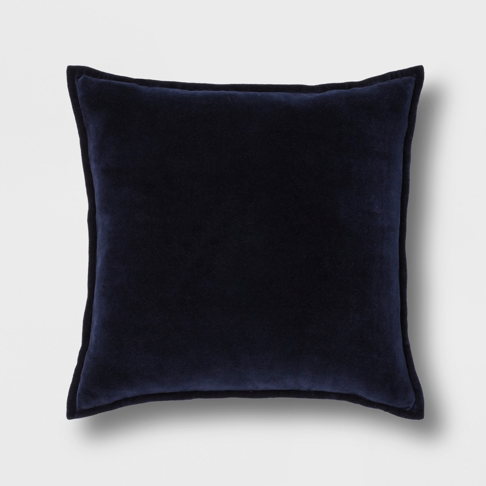 Solid Velvet With Zipper Closure Square Throw Pillow Navy (Blue) - Threshold