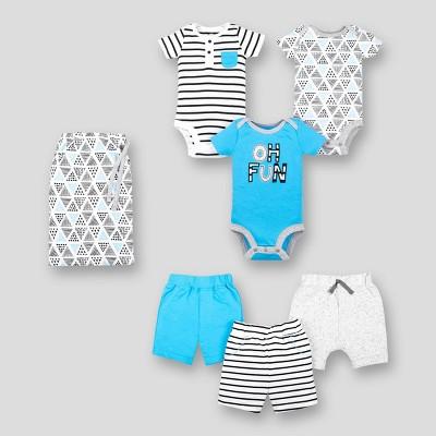 Lamaze Baby Boys' 6pc Organic Cotton Mix N Match Top and Bottom Set - Blue/White/Gray 9M