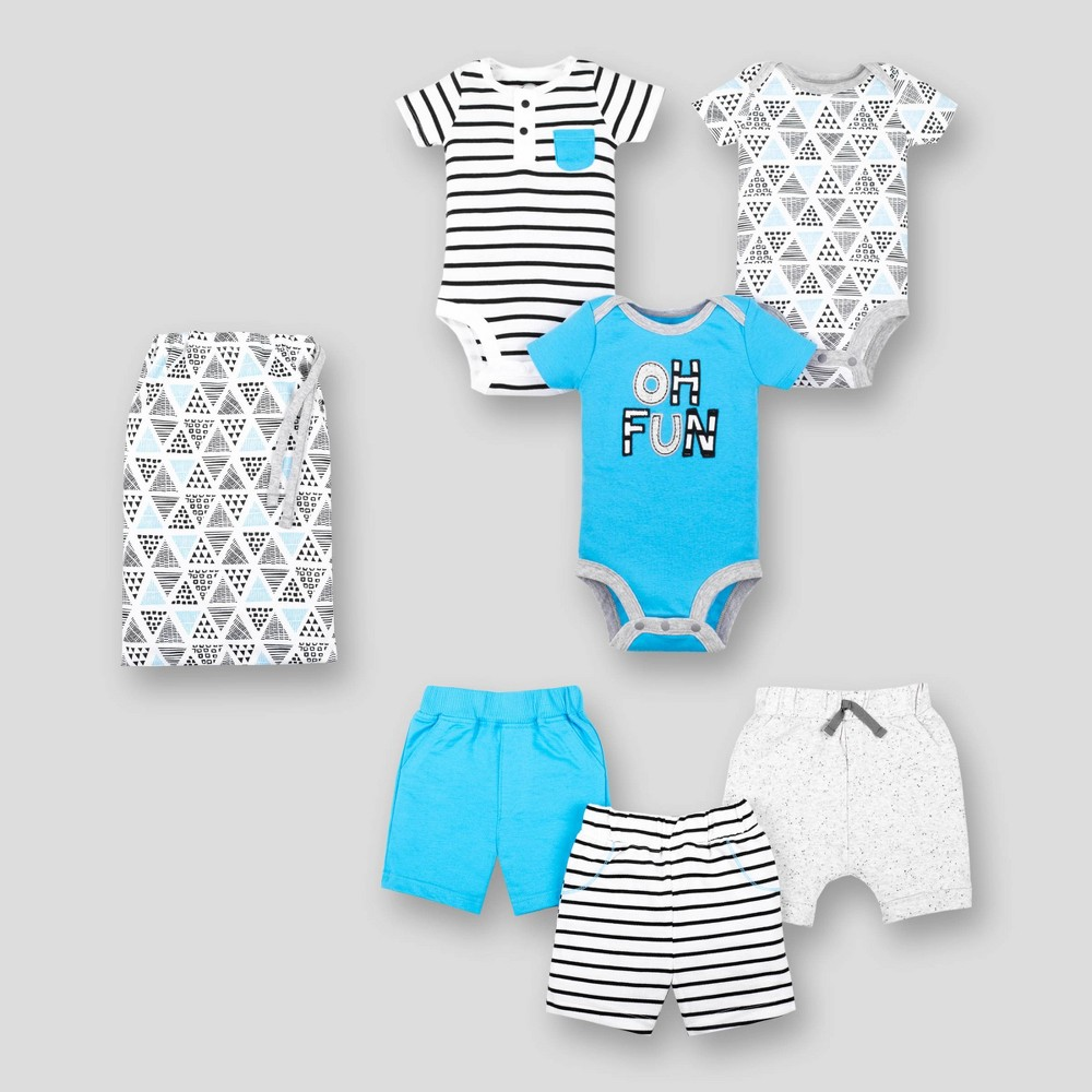 Lamaze Baby Boys' 6pc Organic Cotton Mix N Match Top and Bottom Set - Blue/White/Gray 12M, Multicolored