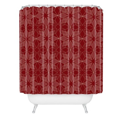 Mirimo Celebration Stars Christmas Shower Curtain Red - Deny Designs