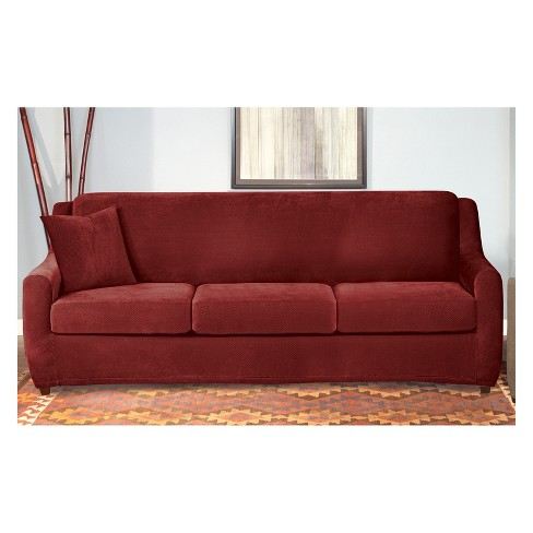 Stretch Pique 3 Seat Sleeper Sofa Slipcover Dark Red - Sure Fit