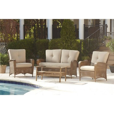 Cosco Lakewood Ranch Steel 2pc Woven Wicker Patio Loveseat and Coffee Table - Amber & Tan