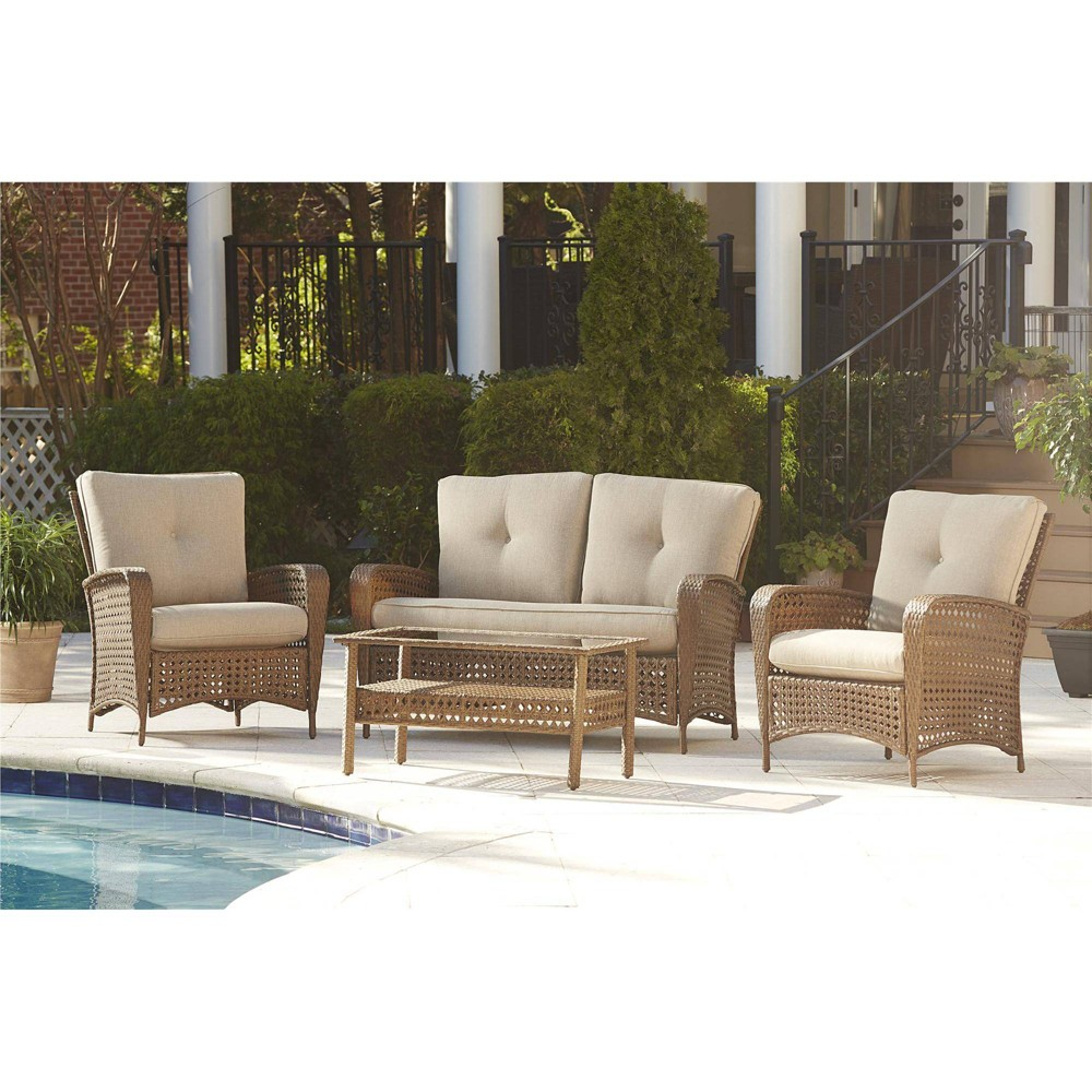 Enjoyable Lakewood Ranch Steel 2Pc Woven Wicker Patio Loveseat And Theyellowbook Wood Chair Design Ideas Theyellowbookinfo