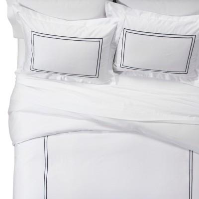 White/Metallic Blue Tonal Hotel Duvet Cover Set (Full/Queen)- Fieldcrest®