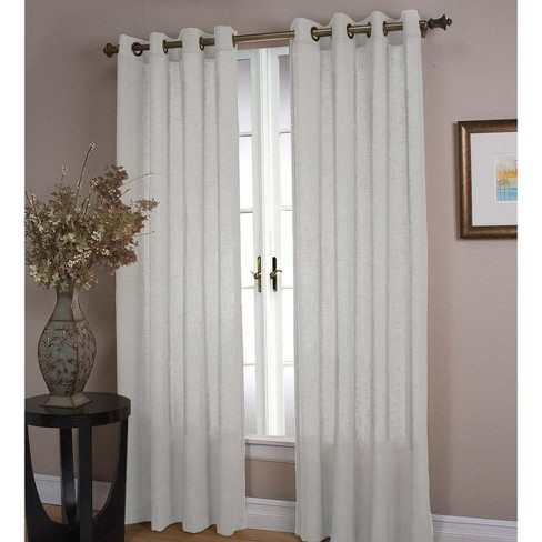 Double Width Sheer Linen Single Window Curtain Panel With Grommets, White - Plow & Hearth - image 1 of 2